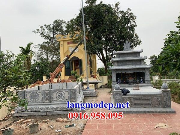 Mẫu mộ đôi gia đình ba mái bằng đá thi công lắp đặt bán tại Tiền Giang