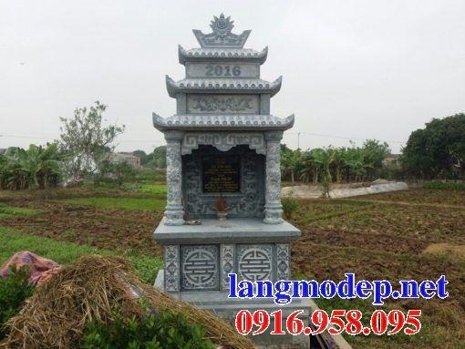 Mẫu mộ đôi gia đình ba mái bằng đá xanh Thanh Hóa bán tại Trà Vinh