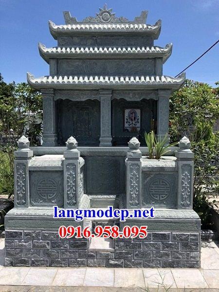 Mẫu mộ đôi gia đình ba mái bằng đá xanh rêu cao cấp tại Bắc Kạn
