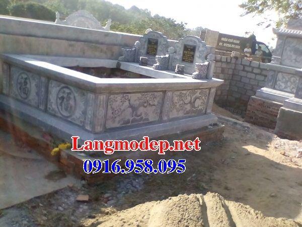 Mẫu mộ đôi gia đình dòng tộc không mái bằng đá chạm trổ tứ quý tại Bạc Liêu