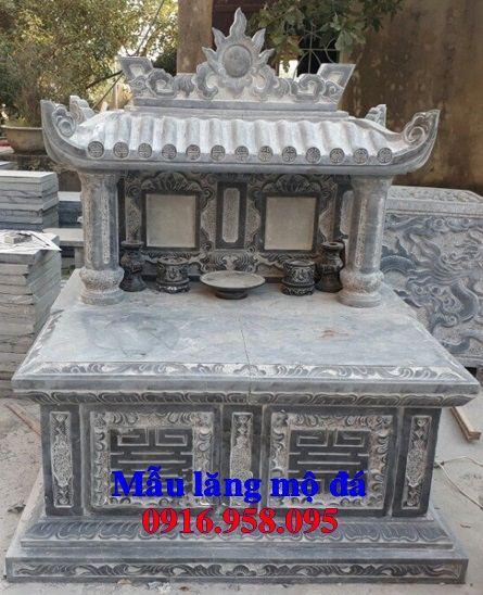 Mẫu mộ đôi gia đình dòng tộc một mái bằng đá cất để tro cốt hỏa táng tại Bạc Liêu
