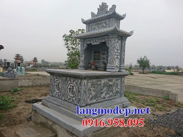 Mẫu mộ đôi gia đình hai mái bằng đá điêu khắc long phụng bán tại Tiền Giang