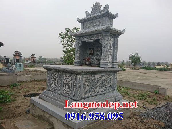 Mẫu mộ đôi gia đình hai mái bằng đá điêu khắc long phụng bán tại Trà Vinh