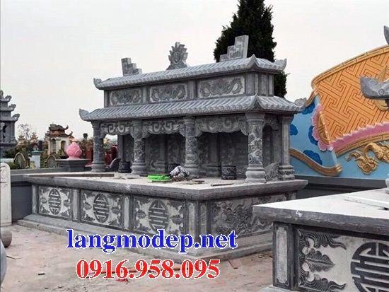 Mẫu mộ đôi gia đình hai mái bằng đá ba ngôi kề nhau tại Kiên Giang