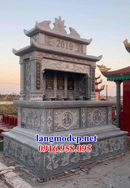 Mẫu mộ đôi gia đình hai mái bằng đá cất để tro hài cốt hỏa táng bán tại Tiền Giang