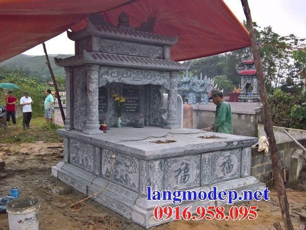 Mẫu mộ đôi gia đình hai mái bằng đá chạm trổ tứ quý tại Đồng Nai