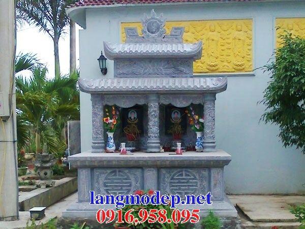 Mẫu mộ đôi gia đình hai mái bằng đá kích thước chuẩn phong thủy tại Ninh Bình