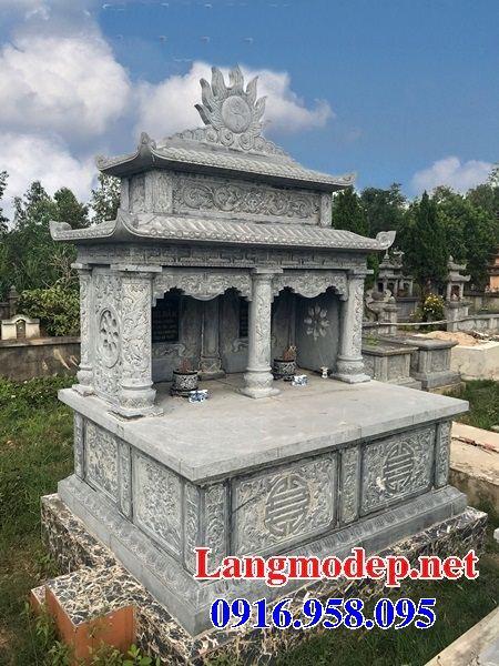 Mẫu mộ đôi gia đình hai mái bằng đá mỹ nghệ Ninh Bình tại Kiên Giang