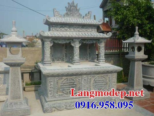 Mẫu mộ đôi gia đình hai mái bằng đá thiết kế đẹp tại Kiên Giang