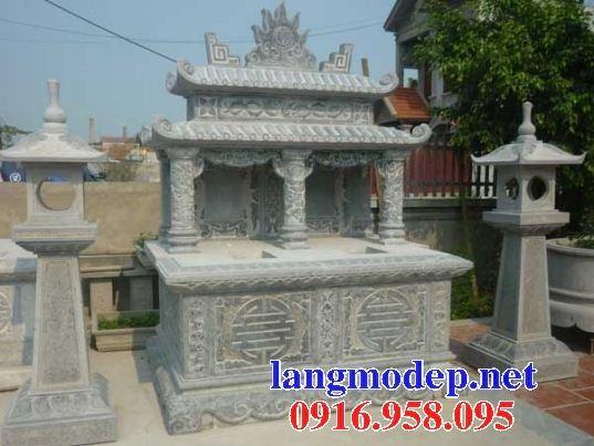Mẫu mộ đôi gia đình hai mái bằng đá thiết kế đẹp tại Ninh Bình