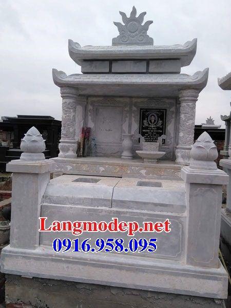 Mẫu mộ đôi gia đình hai mái bằng đá trắng cao cấp tại Ninh Bình