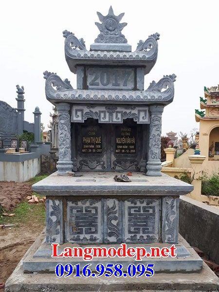 Mẫu mộ đôi gia đình hai mái bằng đá xanh Thanh Hóa bán tại Tiền Giang
