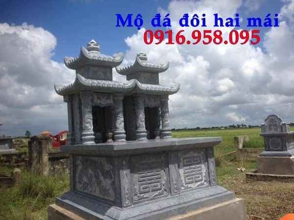 Mẫu mộ đôi gia đình hai mái bằng đá xanh Thanh Hóa tại Đồng Nai