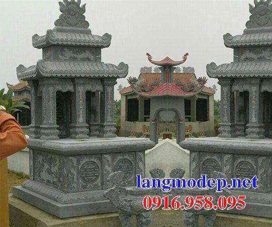 Mẫu mộ đôi gia đình hai mái bằng đá xanh Thanh Hóa tại Đồng Tháp