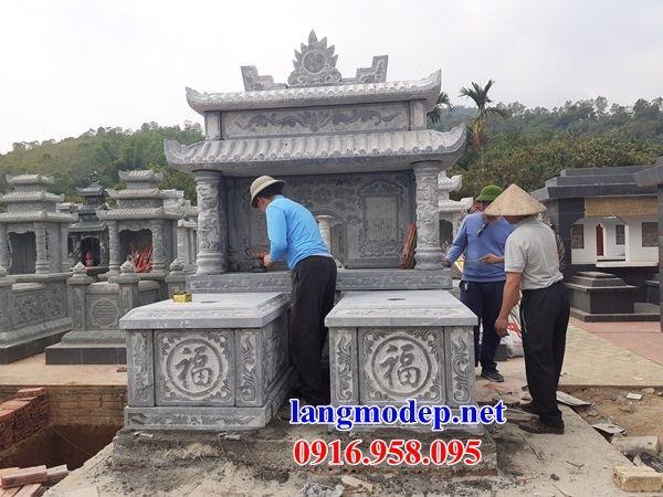 Mẫu mộ đôi gia đình hai mái bằng đá xanh Thanh Hóa tại An Giang