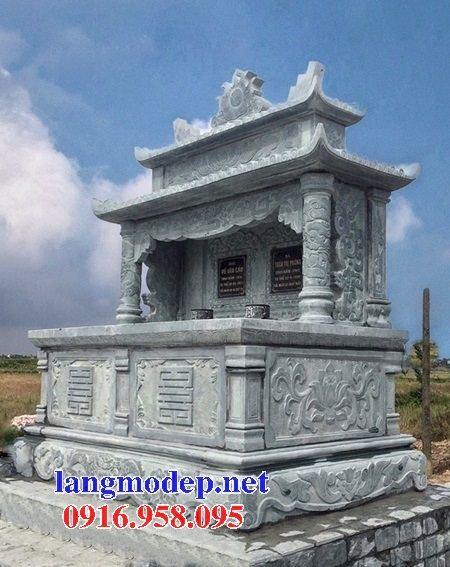 Mẫu mộ đôi gia đình hai mái bằng đá xanh rêu cao cấp tại Đồng Tháp