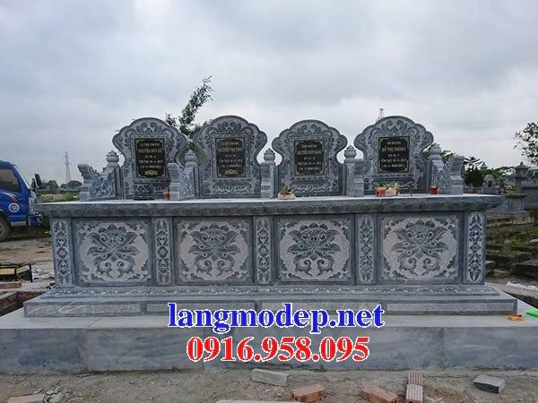 Mẫu mộ đôi gia đình không mái bằng đá bốn ngôi kề nhau tại An Giang