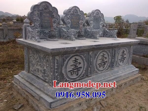 Mẫu mộ đôi gia đình không mái bằng đá ba ngôi kề nhau bán tại Trà Vinh