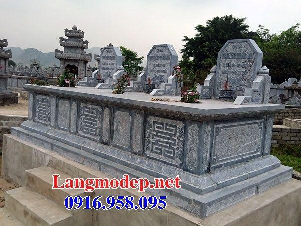 Mẫu mộ đôi gia đình không mái bằng đá ba ngôi kề nhau tại Ninh Bình