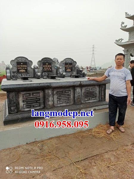 Mẫu mộ đôi gia đình không mái bằng đá ba ngôi liền kề bán tại Cao Bằng