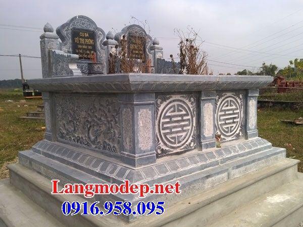 Mẫu mộ đôi gia đình không mái bằng đá cất để tro cốt hỏa táng tại Kiên Giang