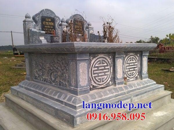 Mẫu mộ đôi gia đình không mái bằng đá chạm khắc hoa văn tinh xảo bán tại Vĩnh Long