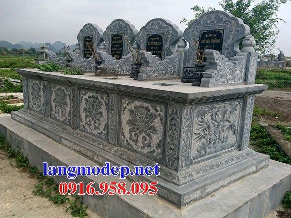 Mẫu mộ đôi gia đình không mái bằng đá chạm khắc hoa văn tinh xảo tại Ninh Bình