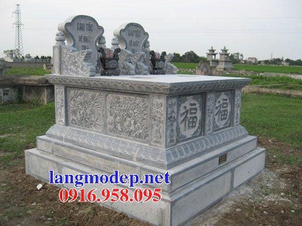 Mẫu mộ đôi gia đình không mái bằng đá chạm trổ tứ quý bán tại Sóc Trăng