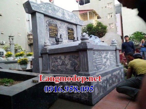 Mẫu mộ đôi gia đình không mái bằng đá kích thước chuẩn phong thủy tại Kiên Giang