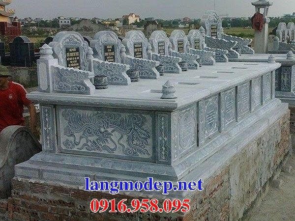 Mẫu mộ đôi gia đình không mái bằng đá sáu ngôi kề nhau bán tại Vĩnh Long