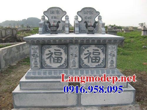 Mẫu mộ đôi gia đình không mái bằng đá tự nhiên nguyên khối bán tại Sóc Trăng