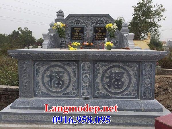 Mẫu mộ đôi gia đình không mái bằng đá tự nhiên nguyên khối bán tại Tiền Giang