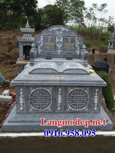 Mẫu mộ đôi gia đình không mái bằng đá thiết kế cơ bản bán tại Bình Phước