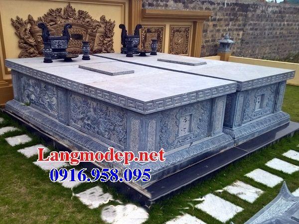 Mẫu mộ đôi gia đình không mái bằng đá thiết kế hiện đại bán tại Vĩnh Long