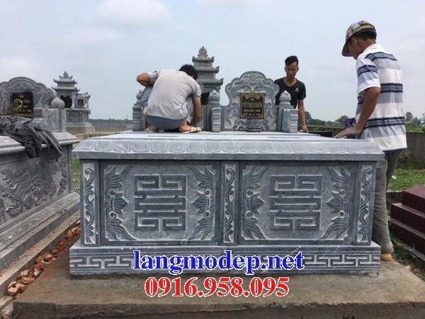 Mẫu mộ đôi gia đình không mái bằng đá thi công lắp đặt tại Đồng Nai