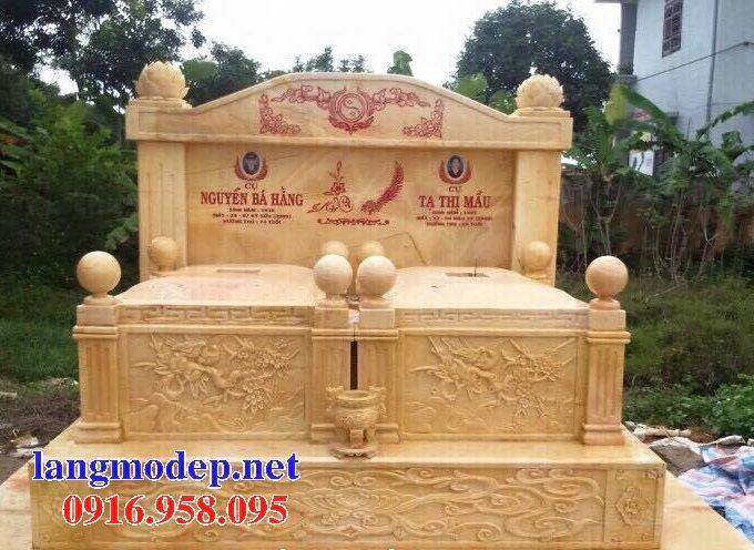 Mẫu mộ đôi gia đình không mái bằng đá vàng cao cấp bán tại Bà Rịa Vũng Tàu