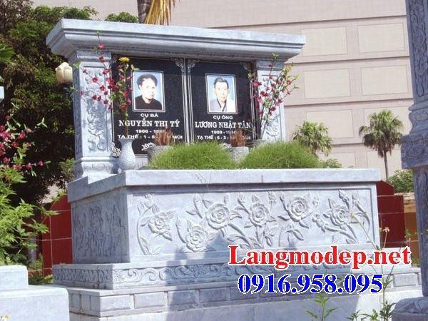 Mẫu mộ đôi gia đình một mái bằng đá thiết kế đẹp bán tại Tiền Giang