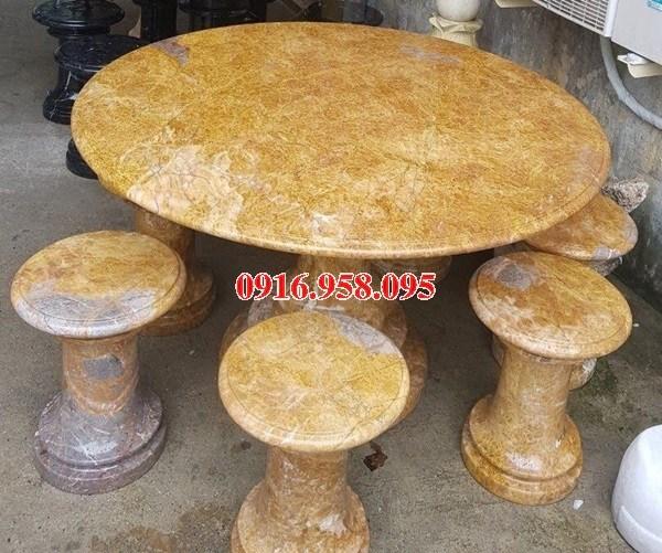 10 Bộ bàn ghế đá vàng đẹp bán chạy tiện mặt bàn tròn