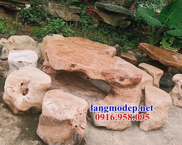 10 Bộ bàn ghế đá vàng nguyên khối đẹp bán chạy