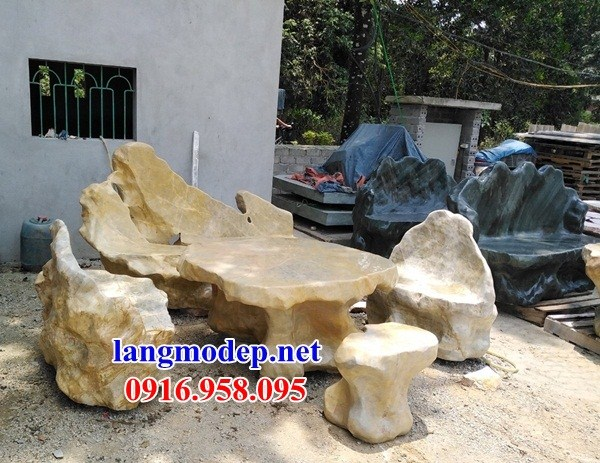 10 Bộ bàn ghế đá vàng tự nhiên đẹp bán chạy