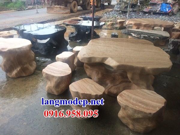 8 Bộ bàn ghế ngoài sân bằng đá tự nhiên nguyên khối đẹp