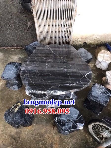 8 Bộ bàn ghế ngoài sân vườn biệt thự bằng đá xanh đen đẹp