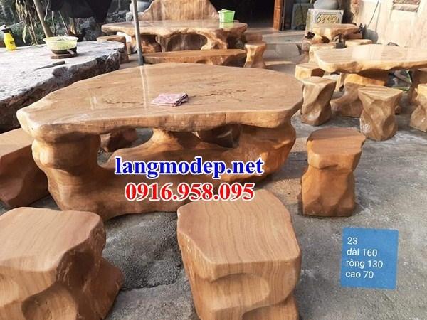 9 Bộ bàn ghế sân vườn bằng đá vàng đẹp