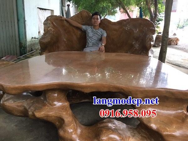 9 Bộ bàn ghế sân vườn bằng đá vân gỗ đẹp