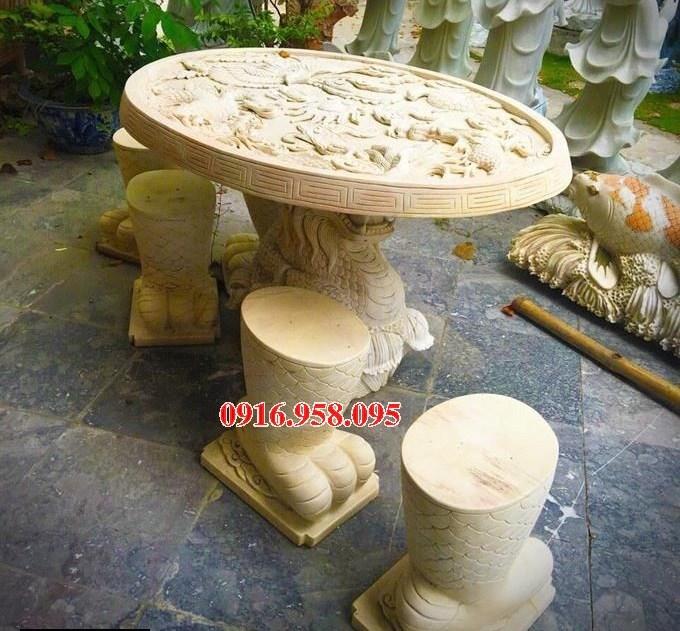 Bàn ghế đá nguyên khối đẹp giá rẻ thiết kế hiện đại