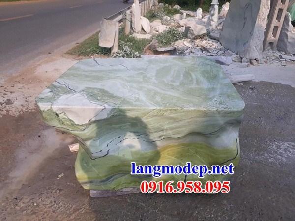 Bàn ghế đá xanh ngọc tự nhiên nguyên khối đẹp giá rẻ