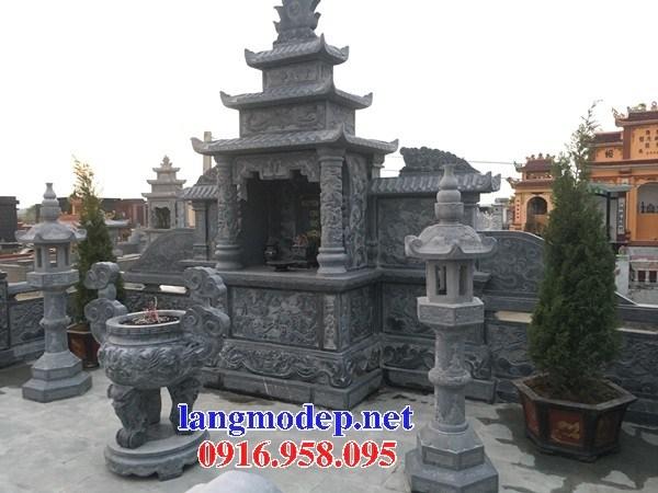 Cây hương thờ chung nghĩa trang gia đình dòng họ bằng đá thiết kế đẹp tại Cà Mau