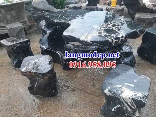Mẫu bộ bàn ghế đá xanh đen tự nhiên nguyên khối đẹp