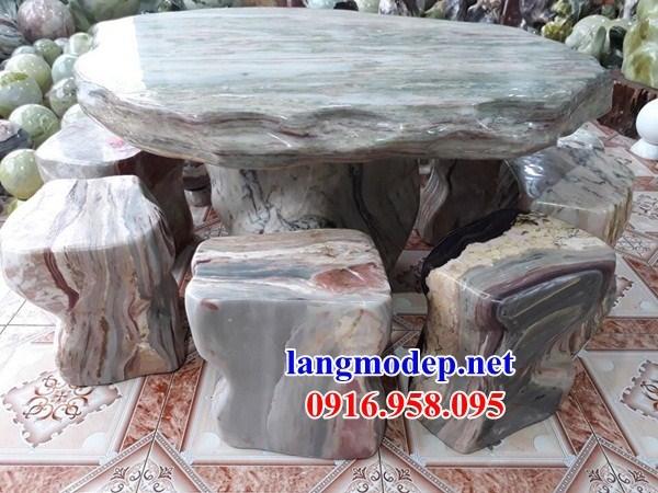 Mẫu bộ bàn ghế đá xanh ngọc tự nhiên nguyên khối đẹp