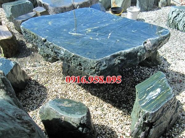Mẫu bộ bàn ghế đá xanh nguyên khối đẹp